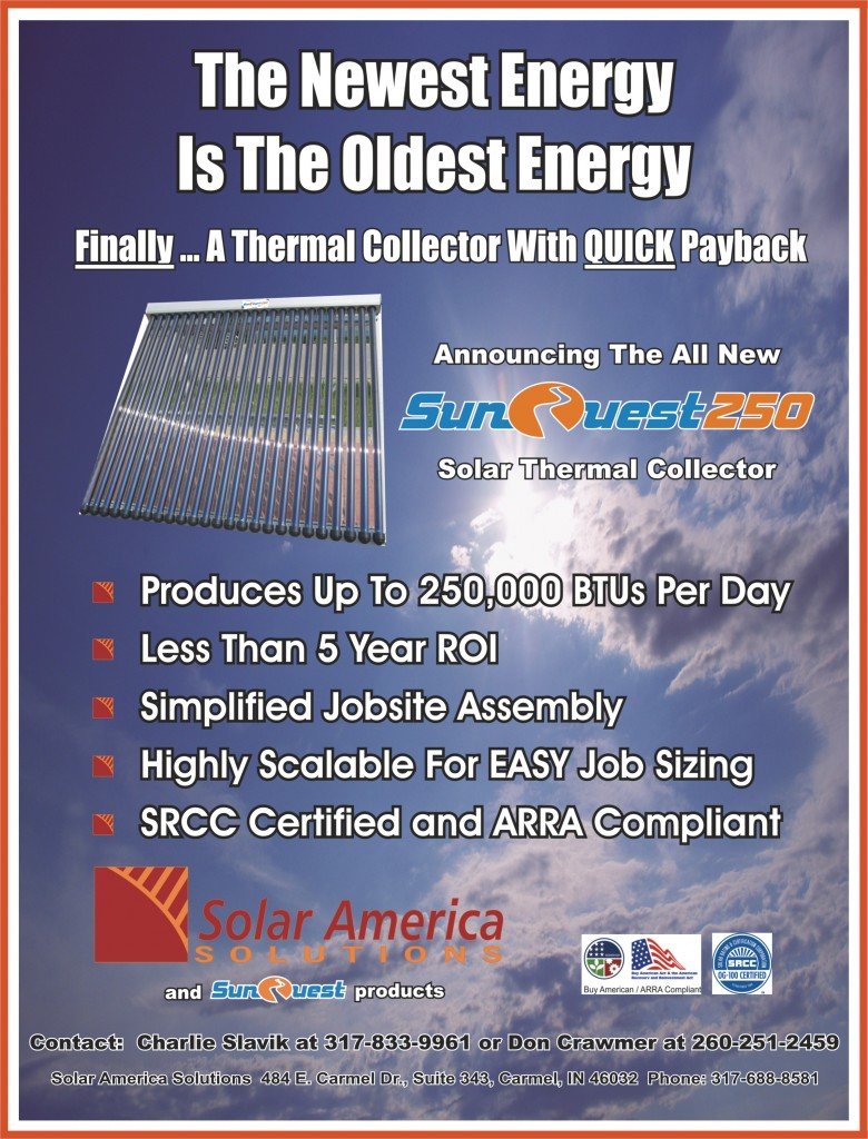 SunQuest 250 Evacuated Tube Solar Thermal Collector Panel